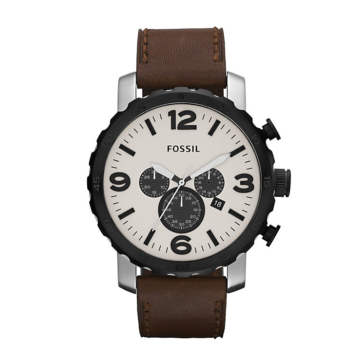 Fossil Nate Men's Brown Leather Strap Watch - Product number 1021664