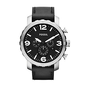 Fossil Nate Men's Black Leather Strap Watch - Product number 1021672