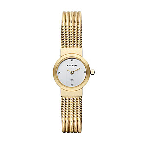 Skagen Ladies' Silver Dial Gold Stainless Steel Strap Watch - Product number 1021893