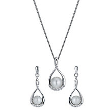 Sterling silver cubic zirconia & freshwater pearl set - Product number 1024027