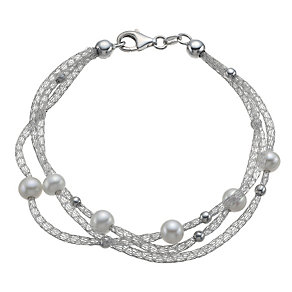 Sterling silver cultured freshwater pearl bead bracelet - Product number 1024116