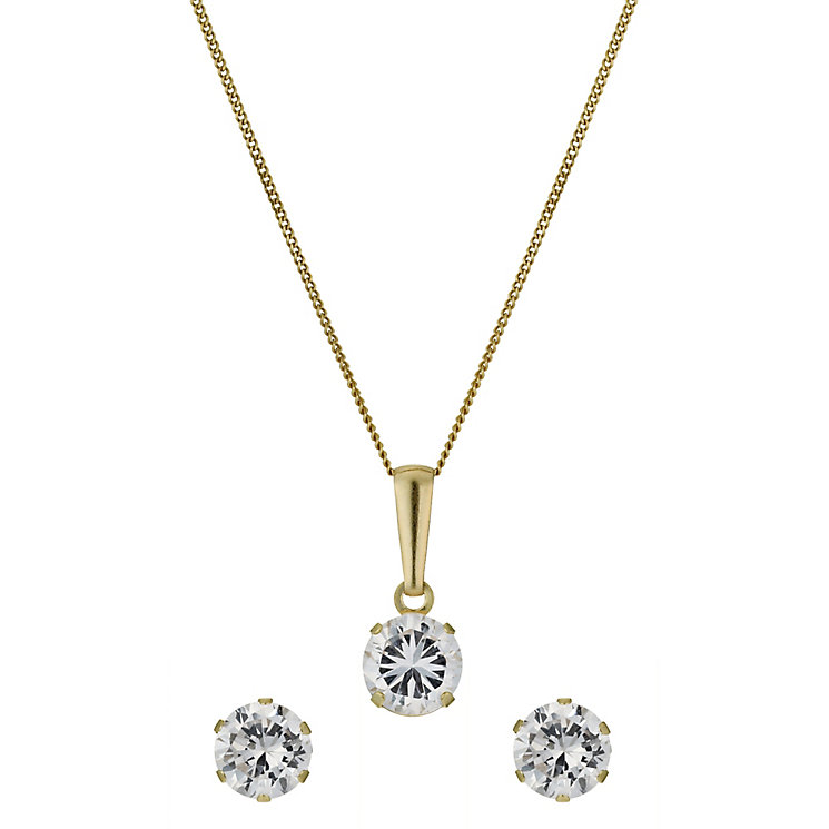 9ct Yellow Gold 5mm Cubic Zirconia Earrings & Pendant - Product number 1024582