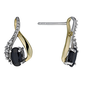 Sterling Silver & 9ct Gold Black Sapphire Twist Earrings - Product number 1024590