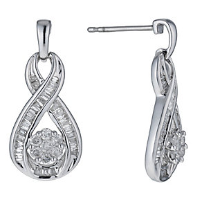 9ct white gold half carat earrings - Product number 1025325