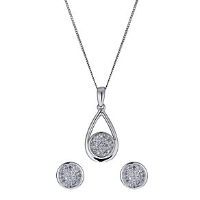 9ct white gold 20 point earring & pendant set - Product number 1025376
