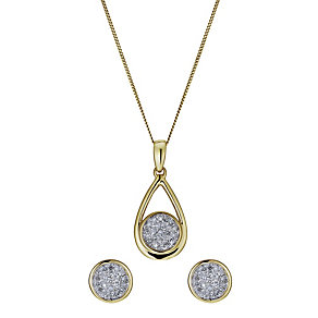 9ct yellow gold 20 point earring & pendant set - Product number 1025392