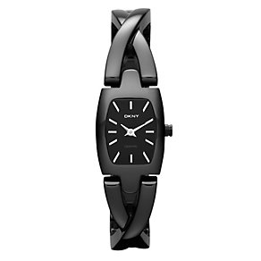DKNY ladies' rectangle black ceramic twist bracelet watch - Product number 1025473