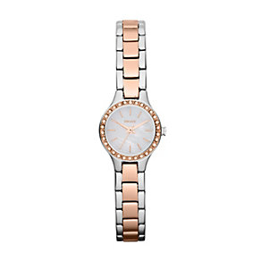 DKNY ladies' two colour mini stone set bracelet watch - Product number 1025600