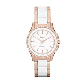 Dkny Ladies' Rose Gold Tone & White Ceramic Bracelet Watch - Product number 1025619