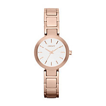 Dkny Ladies' White Dial Rose Gold Tone Bracelet Watch - Product number 1025783