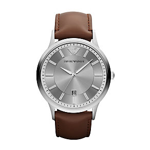 Emporio Armani men's stainless steel grey strap watch - Product number 1026089