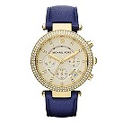 Michael Kors ladies' gold-plated blue strap watch - Product number 1026143