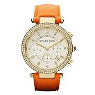 Michael Kors Ladies' crystal gold-plated orange strap watch - Product number 1026399