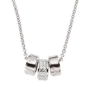 Emporio Armani sterling silver three bead stone set necklace - Product number 1027182