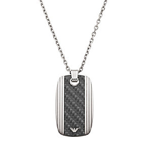 Emporio Armani men's stainless steel & carbon fibre dog tag - Product number 1027220