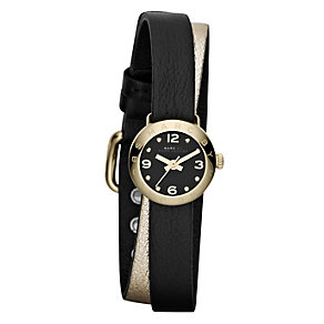 Marc Jacobs ladies' gold-plated black wrap strap watch - Product number 1028189