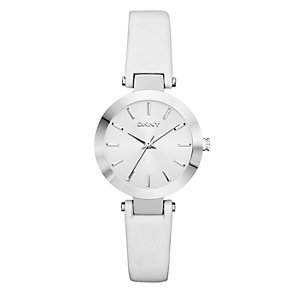 DKNY Ladies' Stainless Steel White Leather Strap Watch - Product number 1028316
