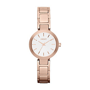 DKNY Ladies' White Dial Rose Gold Ion-Plated Bracelet Watch - Product number 1028332