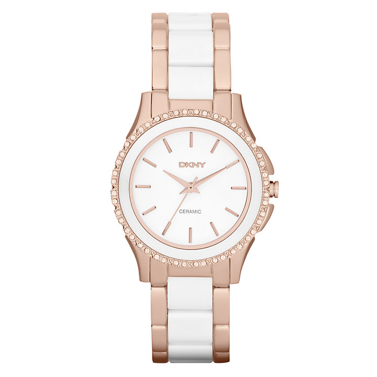 DKNY Ladies' Rose Gold-Plated & White Ceramic Bracelet Watch - Product number 1028642