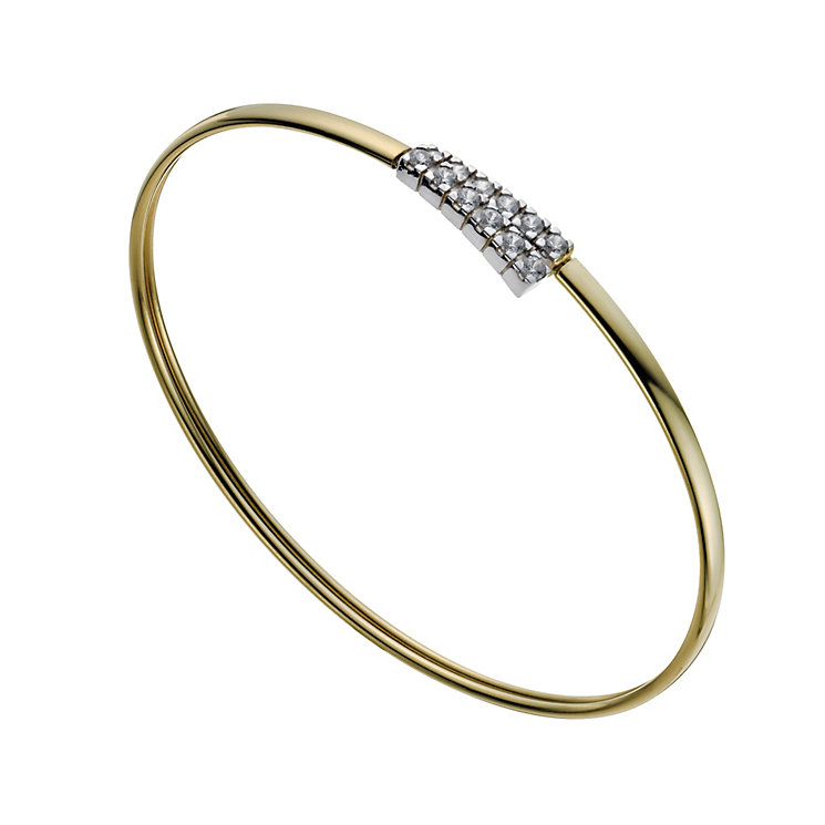 Together Bonded Silver & 9ct Gold Cubic Zirconia Bangle - Product number 1029185