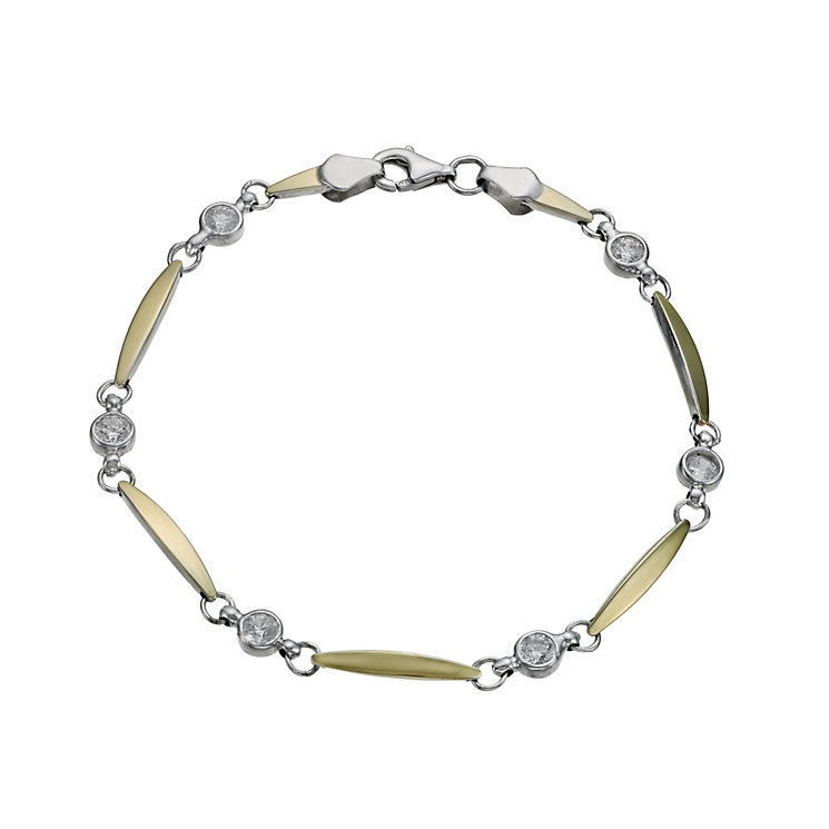 Together Bonded Silver & 9ct Gold Cubic Zirconia Bracelet - Product number 1029231