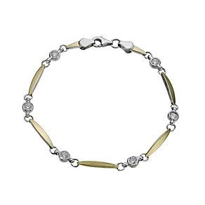 Together Bonded Silver & 9ct Gold Cubic Zirconia Bracelet - Product number 1029231
