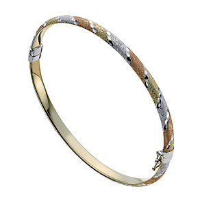 Together Bonded Silver & 9ct Gold Three Colour Bangle - Product number 1029274