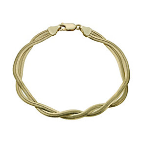 Together Bonded Silver & 9ct Gold Plait Herringbone Bracelet - Product number 1029290