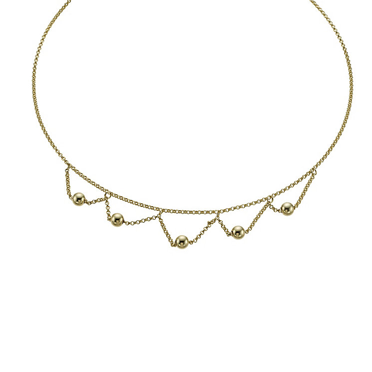 Together Bonded Silver & 9ct Gold Ball Drop Necklace - Product number 1029312