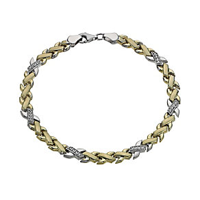 Together Bonded Silver & 9ct Gold Cubic Zirconia Bracelet - Product number 1029371