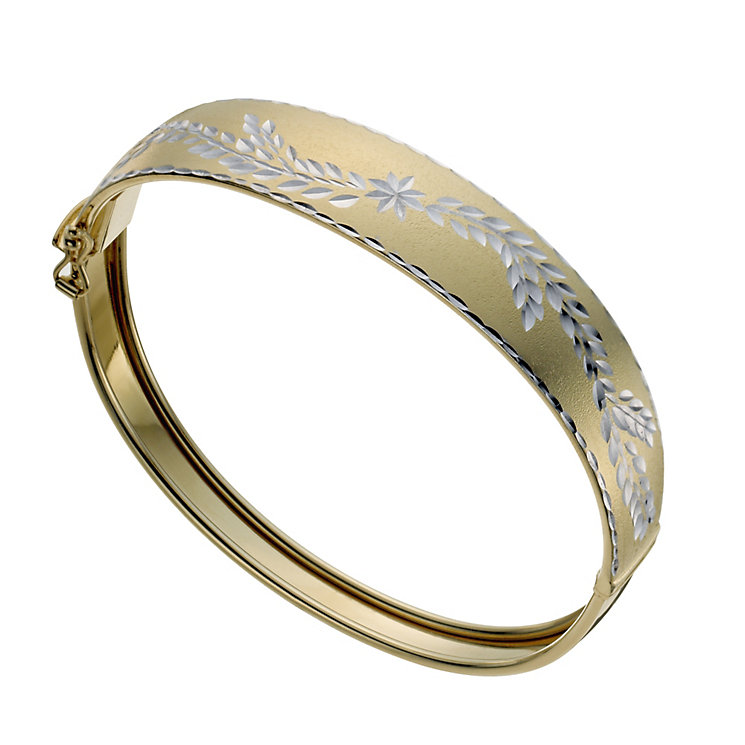 Together Bonded Silver & 9ct Gold Diamond Cut Flower Bangle - Product number 1029452