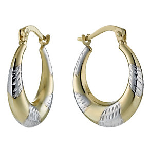 Together Bonded Silver & 9ct Gold Creole Hoop Earrings - Product number 1031155