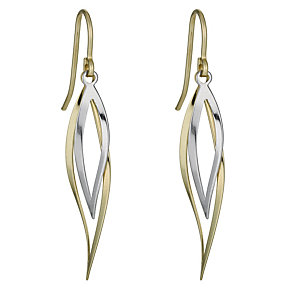 Together Bonded Silver & 9ct Two Colour Twist Drop Earrings - Product number 1031198