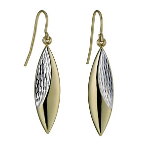 Together Bonded Silver & 9ct Gold Two Colour Oval Earrings - Product number 1031228