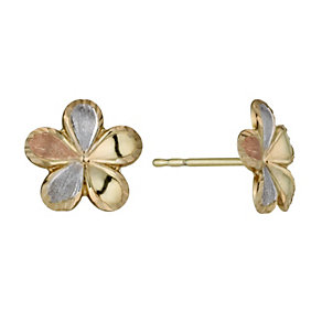 Together Bonded Silver & 9ct Gold 3 Colour Flower Earrings - Product number 1031295