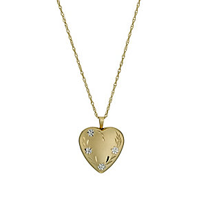 "Together Bonded Silver & 9ct Gold 18"" Flower Heart Locket - Product number 1031414"