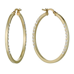 Together Bonded Silver & 9ct Gold Arrow Creole Hoop Earrings - Product number 1032097