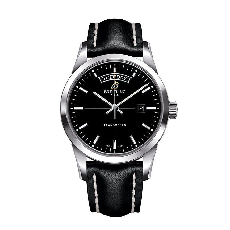 Breitling Transocean men's black leather strap watch - Product number 1033905
