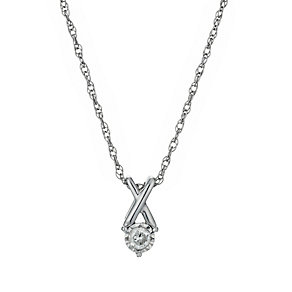 Silver Illusion Diamond Pendant Necklace - Product number 1034456
