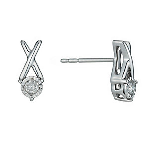 Silver Illusion 1/10 Carat Diamond Earrings - Product number 1034499