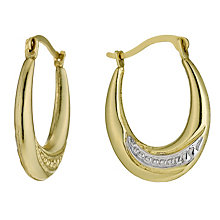 Together Bonded Silver & 9ct Yellow Gold Creole Earrings - Product number 1034685