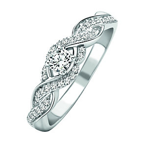 9ct White Gold 1/4 Carat Diamond Ring - Product number 1035967