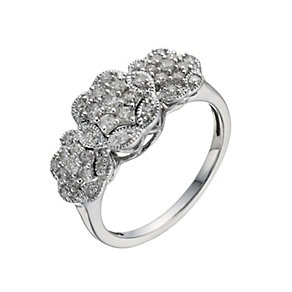 9ct White Gold 1/2 Carat Diamond Triple Flower Cluster Ring - Product number 1036092