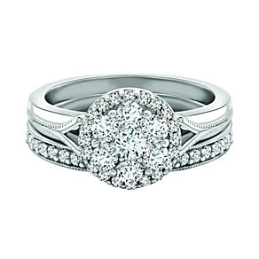 9ct White Gold 75 pt Diamond Bridal Set - Product number 1036238