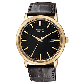 Citizen men's rose gold-plated brown leather strap watch - Product number 1036378