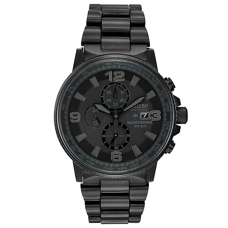 Citizen Eco-Drive Nighthawk black ion-plated bracelet watch - Product number 1036432