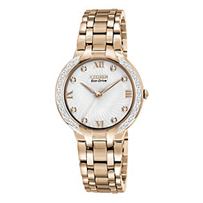 Citizen Eco-Drive ladies' diamond gold-plated bracelet watch - Product number 1036556