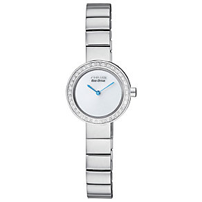 Citizen Eco-Drive stainless steel stone set bracelet watch - Product number 1036572