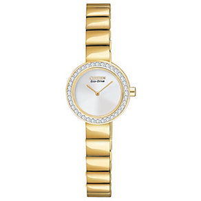 Citizen Eco-Drive gold-plated stone set bracelet watch - Product number 1036580