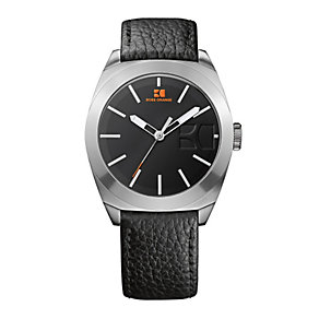 Boss Orange Men's Stainless Steel Black Leather Strap Watch - Product number 1037021